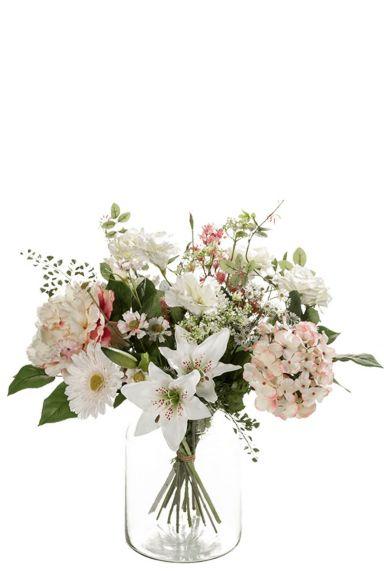 Boeket kunstbloemen wit roze