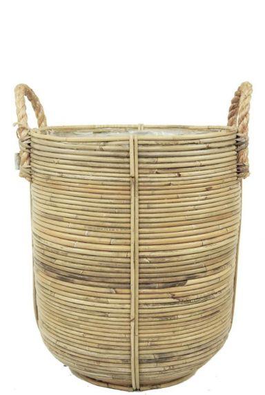 Korb Drypot Rattan Stripe - Round Grey