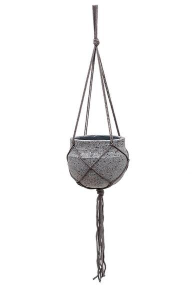 Hangpot in touw grijs