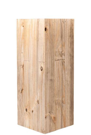 Hoge houten plantenbak zuil